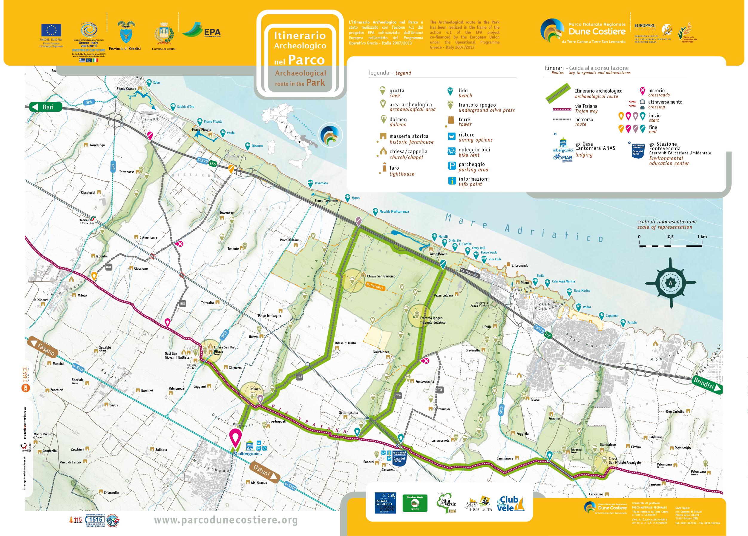 Cartina Itinerari Puglia.Itinerari Parco Naturale Regionale Da Torre Canne E Torre S Leonardo
